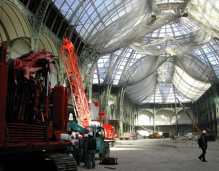Le Grand Palais à PARIS, reprise de ses fondations. (voir explications ci-dessous)